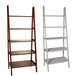 Casual Home 5-Shelf Ladder Bookcase, White with 5-Shelf Ladder Bookcase, Warm Brown