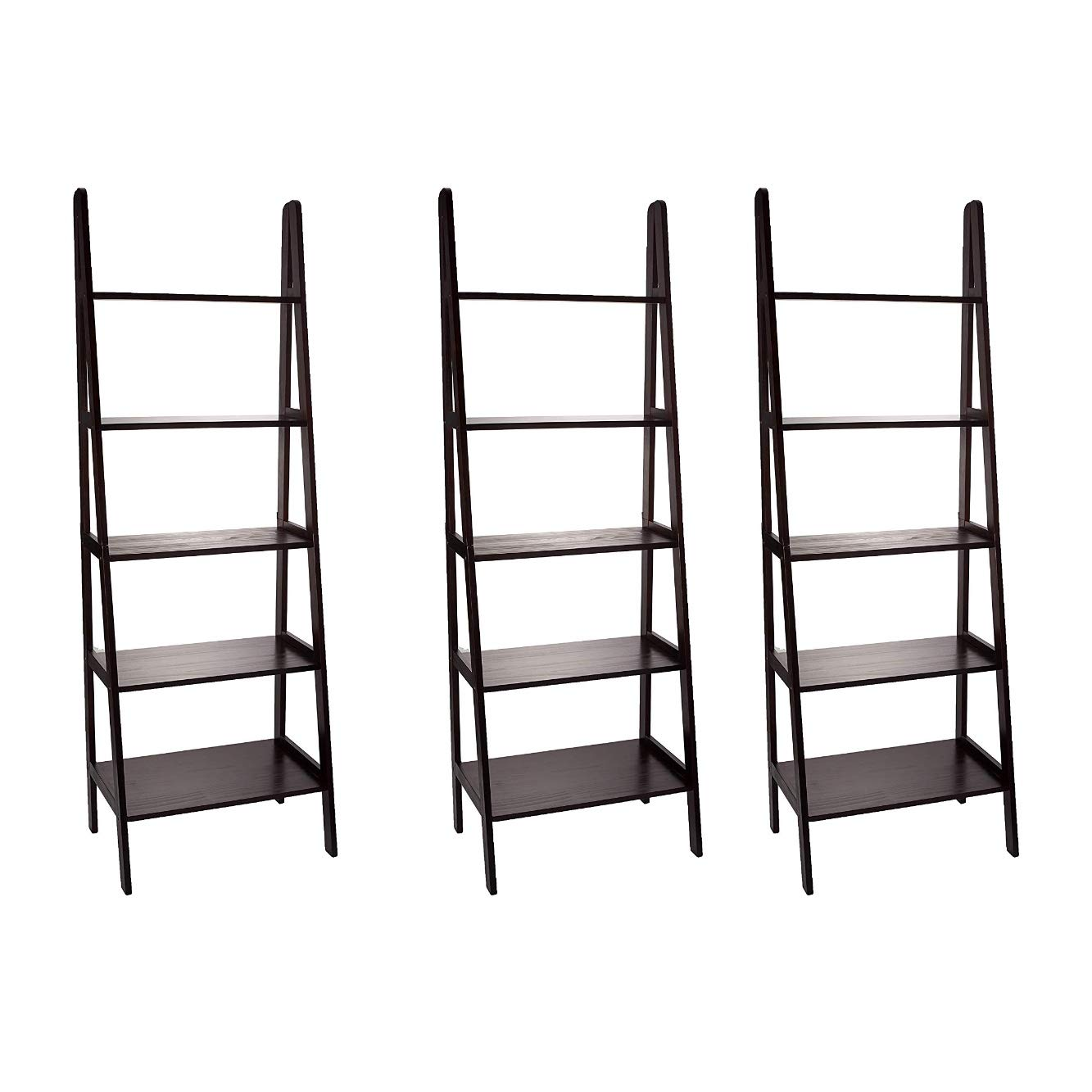 Casual Home 5-Shelf Ladder Bookcase, Espresso (Pack of 3)