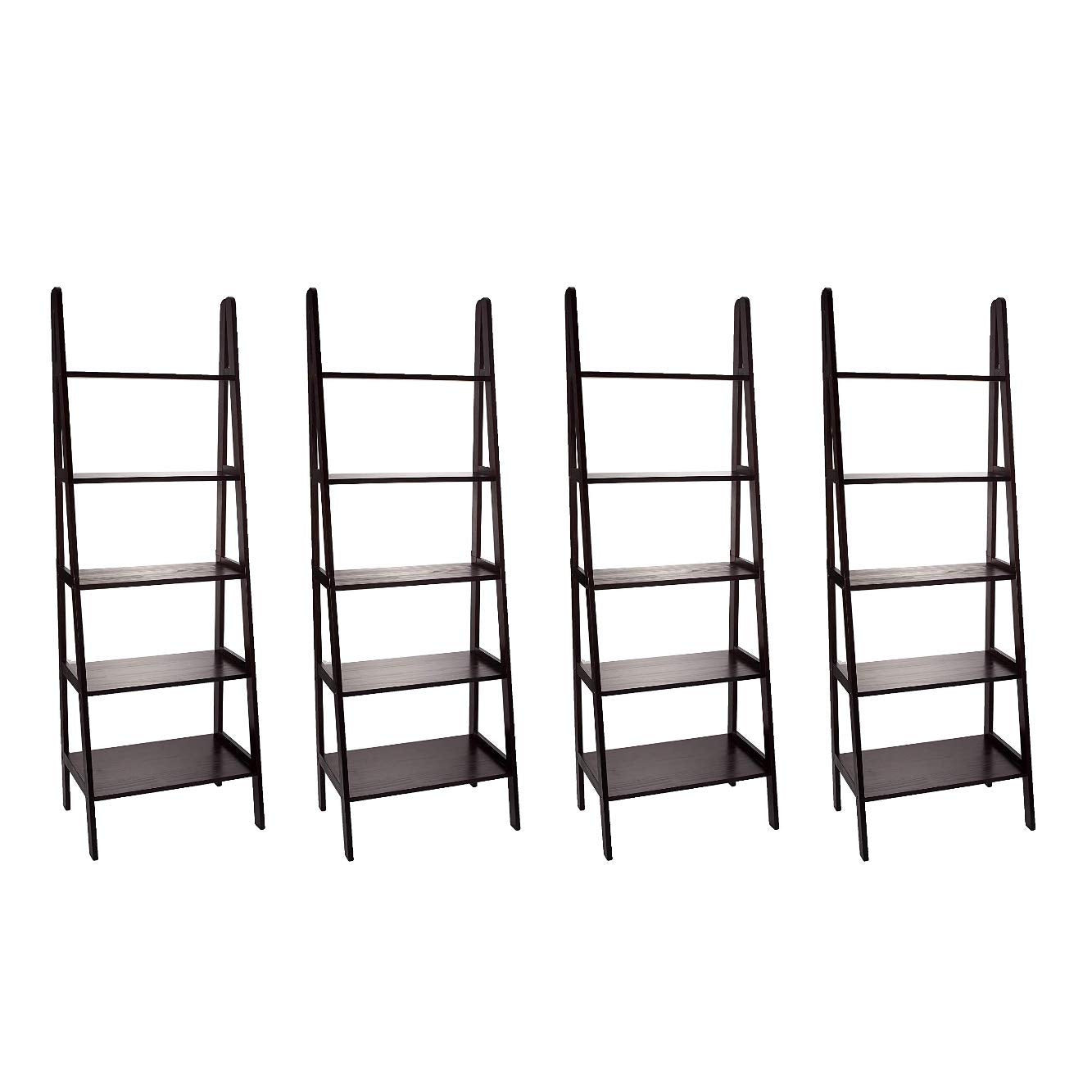 Casual Home 5-Shelf Ladder Bookcase, Espresso (Pack of 4)