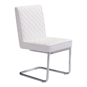 Armless Dining Chair White (Set of 2) - Leatherette Chromed Steel