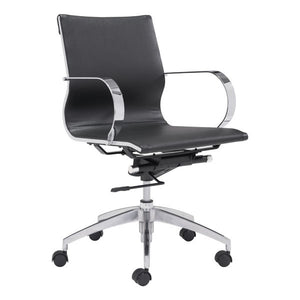 Low Back Office Chair Black - Leatherette Chromed Steel, Brushed Aluminum
