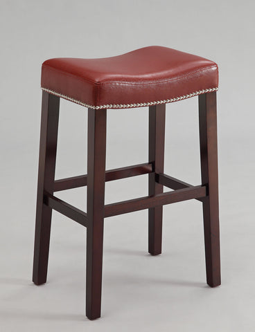 Bar Stool (Set-2), Red PU & Espresso - Bycast PU, FR Foam, nail- Red PU & Espresso