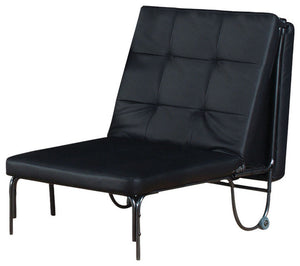 Adjustable Chair (Futon), Silver & Black - Metal Tube, MDF, PU, FP F Silver & Black