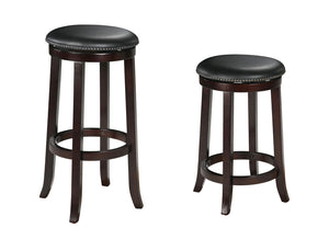 Bar Stool with Swivel (Set-2), PU & Espresso - PU, Wood (Castanopsis cus Espresso
