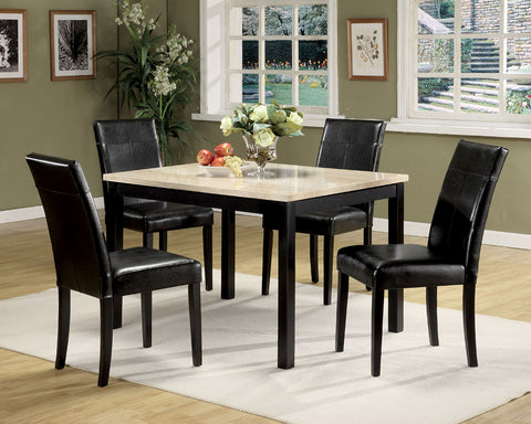 5Pc Pack Dining Set, White Faux Marble & Black - Faux Marble, PU White Faux Marble & Black