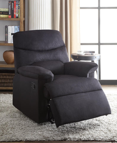 Recliner , Black Woven Fabric - Woven Fabric, Wood (Solid Black Woven Fabric