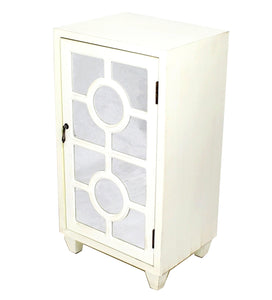 Antique White Wood Mirrored Glass Accent Cabinet with A Door and Lattice Inserts