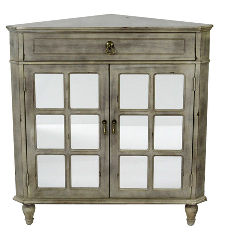1-Drawer, 2-Door Corner Cabinet w/Paned Mirror Inserts - MDF, Wood Mirrored Glass