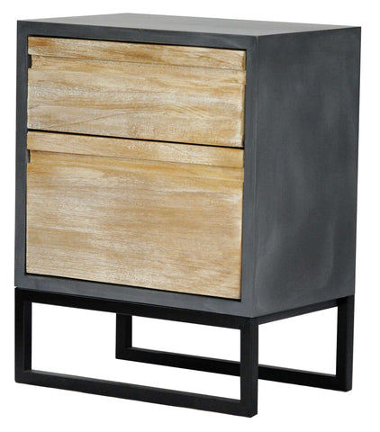 2-Drawer Accent Cabinet - MDF, Wood Iron