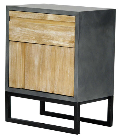 1-Drawer, 1-Door Accent Cabinet - MDF, Wood Iron