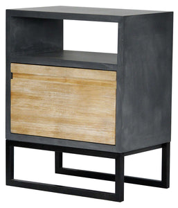 1-Shelf, 1-Drawer End Table - MDF, Wood Iron