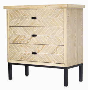 3-Drawer Parquet Accent Cabinet - Iron Wood MDF, Matte