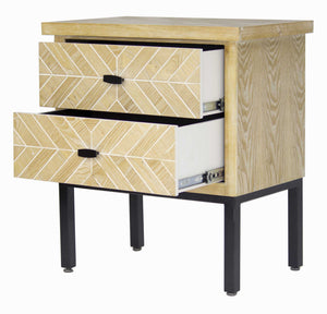 2-Drawer Parquet Accent Cabinet - Iron Wood MDF, Matte