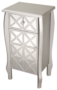 1-Drawer, 1-Door Accent Cabinet w/ Patterned Smoked Mirror Accents - MDF, Wood Mirrored Glass