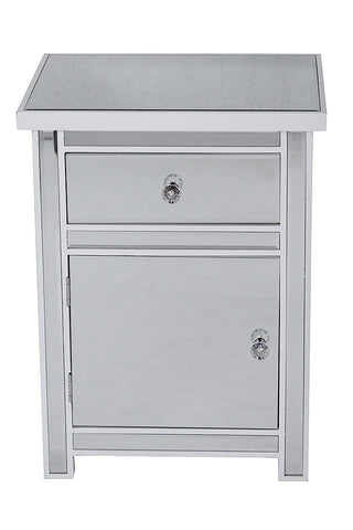 1-Drawer, 1-Door Mirrored Accent Cabinet - MDF, Wood Mirrored Glass