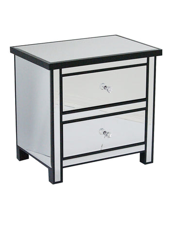 2-Drawer Mirrored Accent Cabinet - MDF, Wood Mirrored Glass