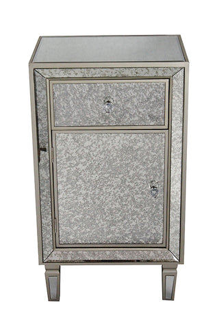 1-Drawer, 1-Door Antiqued Mirror Tall Accent Cabinet - MDF, Wood Mirrored Glass