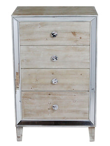4-Drawer Cabinet w/ Mirror Accents - MDF, Wood Mirrored Glass