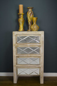 4 Drawer Accent Cabinet - MDF, Wood Mirrored Glass