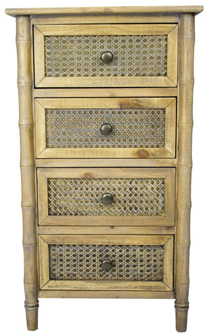 4-Drawer Cabinet w/ Cane Detail - Wood (Pine), Cane