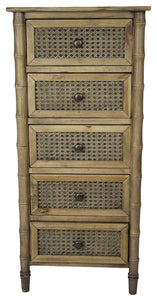 5-Drawer Cabinet w/ Cane Detail - Wood (Pine), Cane