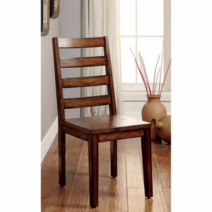 Contemporary Side Chair, Tobacco Oak Finish, Set Of 2