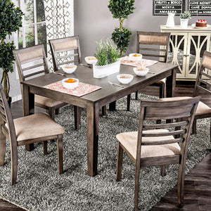 Transitional Style Seven Piece Gray Dining Set