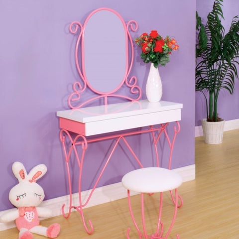 Metal Vanity Set With Stool In Pink & White Color