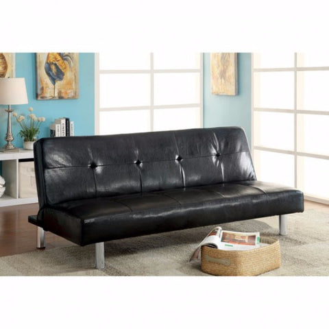 Contemporary Sofa Futon In Black Finish