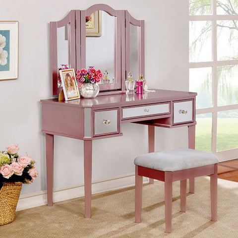 Contemporary Vanity With Stool, Rose Gold