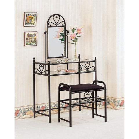 Casual 2 Piece Metal Vanity Set With Stool with Fabric Seat, Black