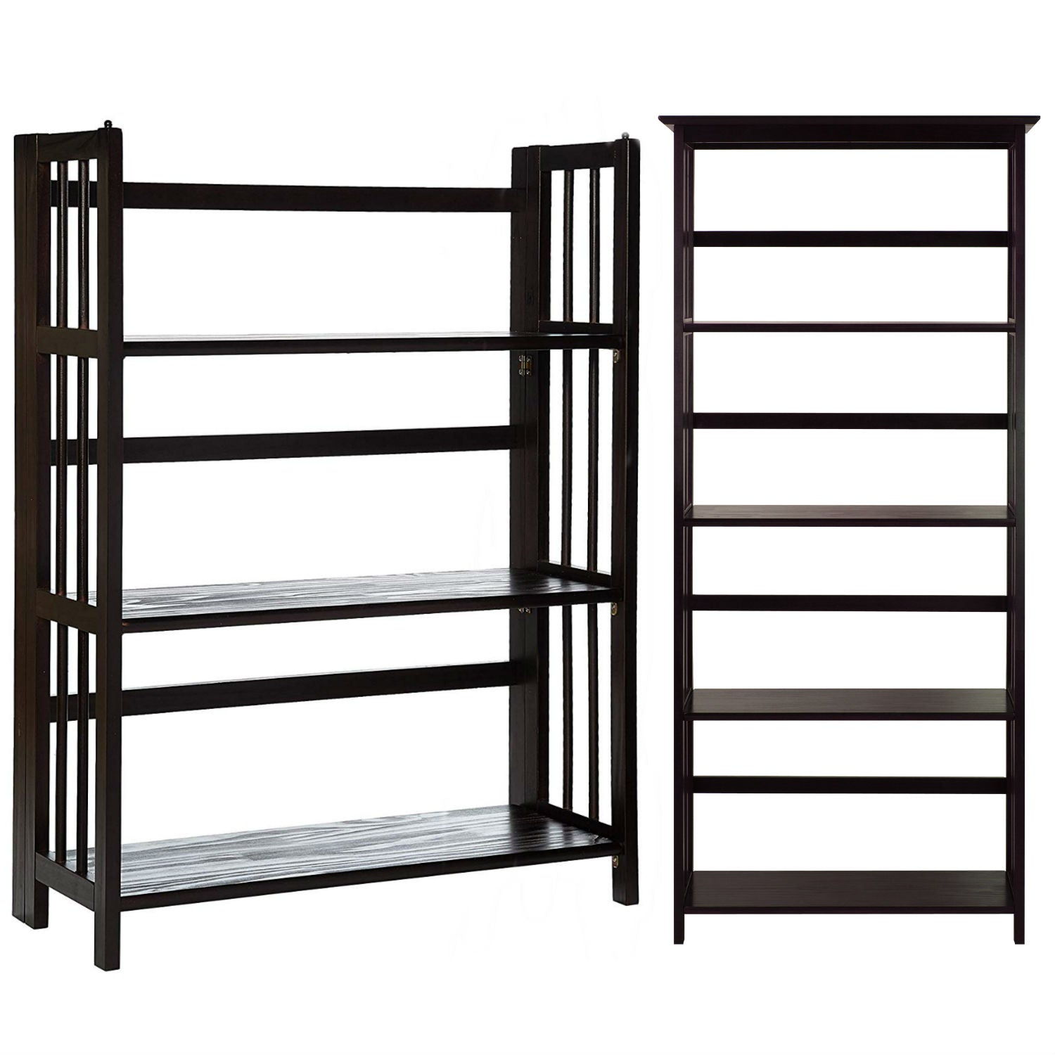 "Casual Home Mission Style 5-Shelf Bookcase with 3-Shelf Folding Stackable Bookcase (27.5"" Wide)-Espresso"