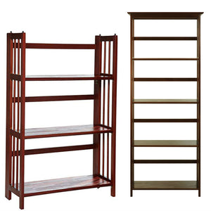 "Casual Home Mission Style 5-Shelf Bookcase with 3-Shelf Folding Stackable Bookcase (27.5"" Wide)-Walnut"