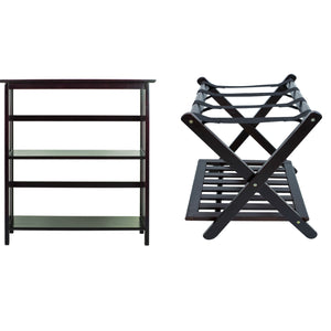 Casual Home Mission Style 3-Shelf Bookcase with Luggage Rack with Shelf, Espresso
