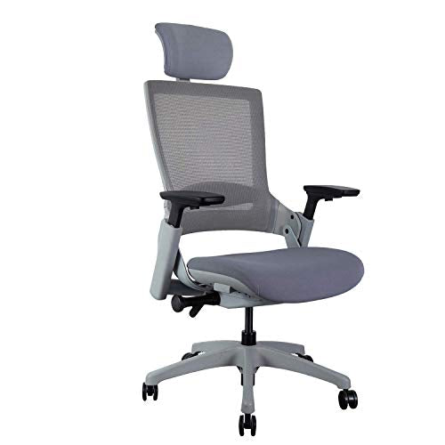 CLATINA Ergonomic High Swivel Executive Chair with Adjustable Height Head 3D Arm Rest Lumbar Support and Upholstered Back for Home Office BIFMA Certified Gray Mesh/High Back