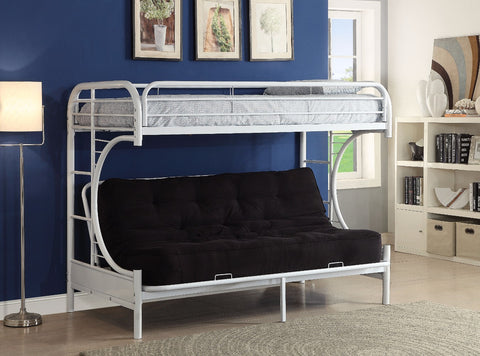 Twin XL/Queen/Futon Bunk Bed, White