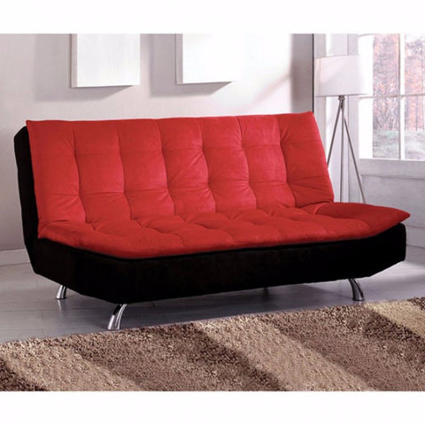 Microfiber Futon Sofa, Red And Black
