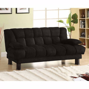 Microfiber Sofa Futon With Under Seat Storage, Black