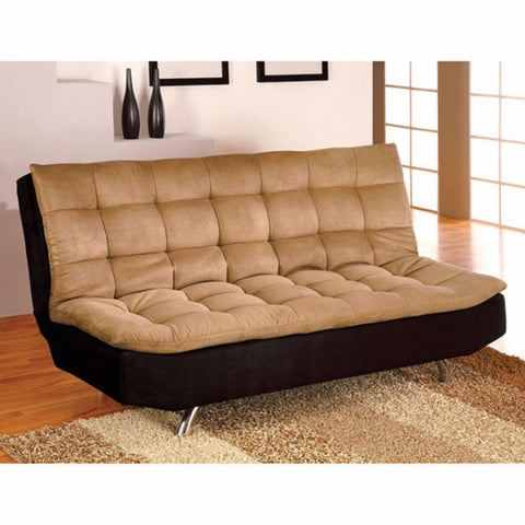 Microfiber Futon Sofa with chrome legs, Brown