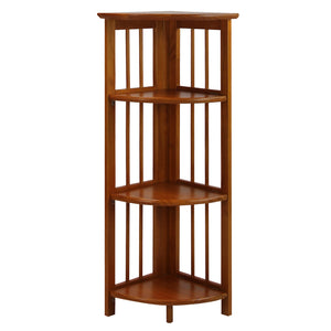 4-Shelf Corner Folding Bookcase-Honey Oak