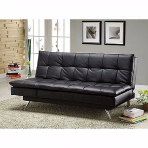 Leatherette Sofa Futon, Black