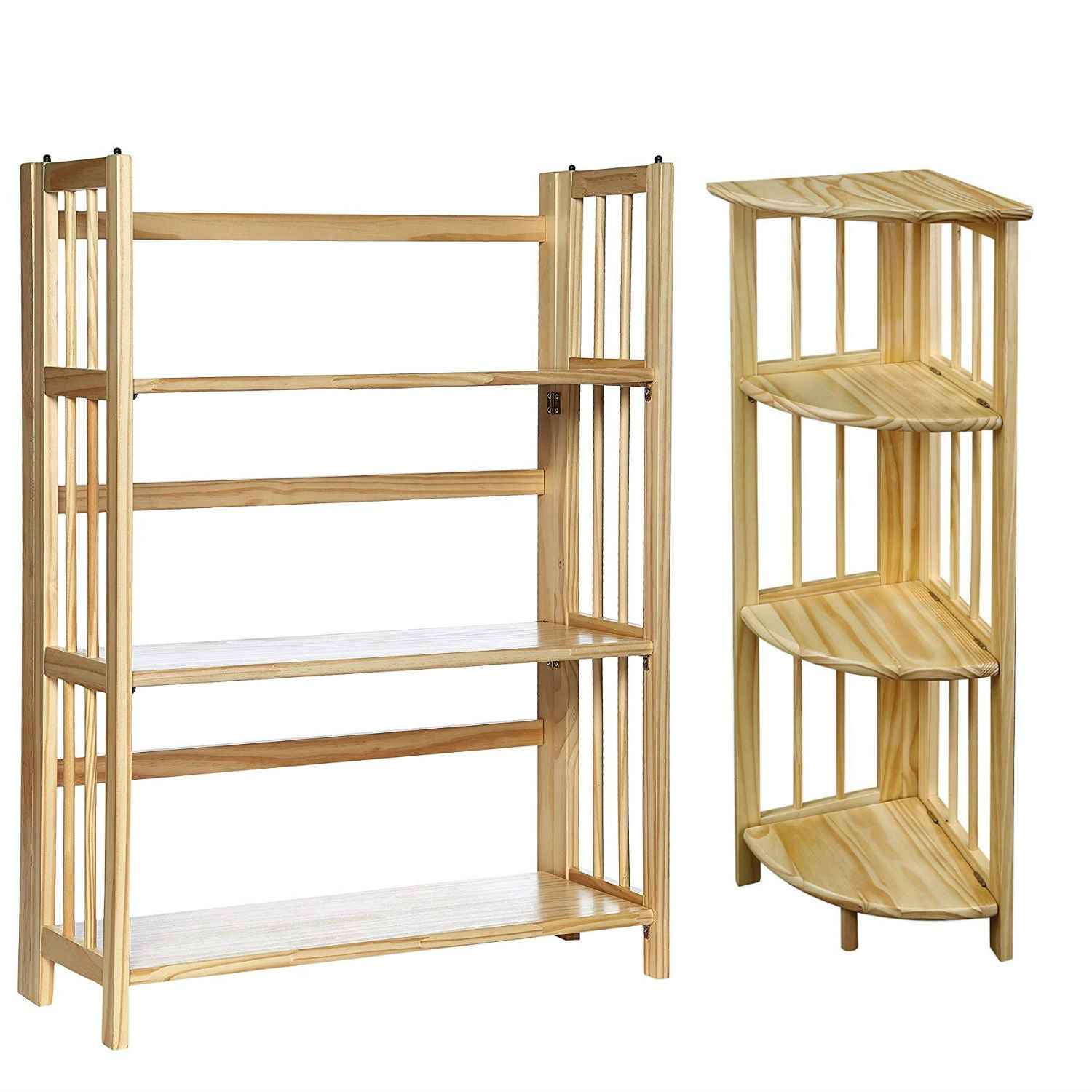 Casual Home 4-Shelf Corner Folding with 3-Shelf Folding Stackable Bookcase - Natural