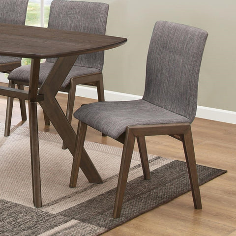 Mid-Century Upholstered Sylvan Dining Side Chair, Warm Brown and Gray , Set of 2
