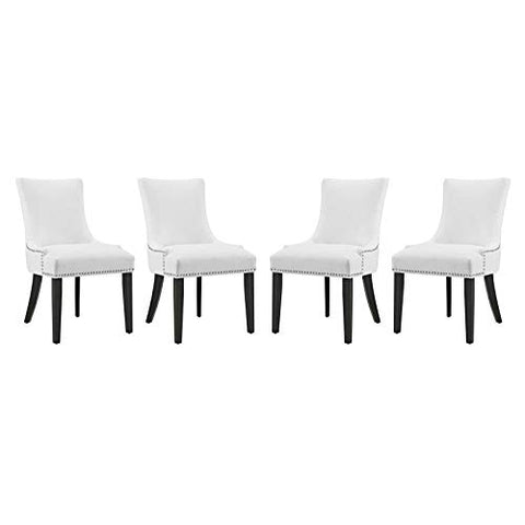Modway Marquis Modern Faux Leather Upholstered Four Dining Chairs with Nailhead Trim in White