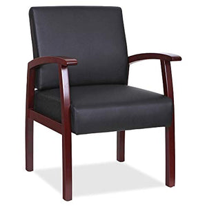Lorell Black Leather/Wood Frame Guest Chair
