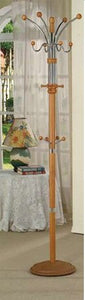 H-M SHOP Six Foot Wood Chrome Coat Rack Oak Finish