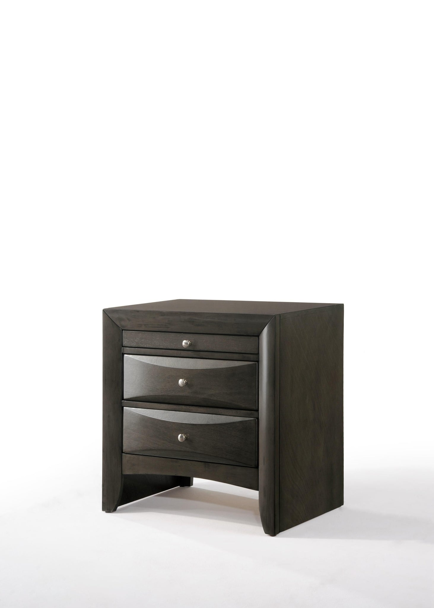 Nightstand  In Gray Oak - Rubber Wood, Okume Veneer, Mdf
