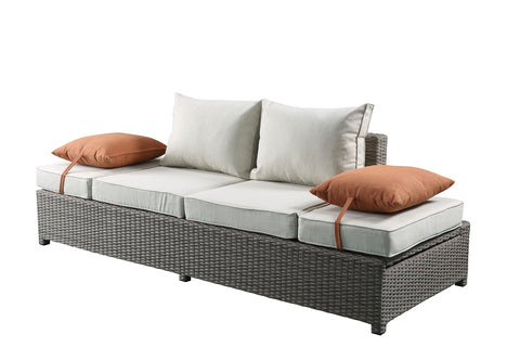 2 Piece Patio Sofa And Ottoman Set In Beige Fabric And Gray Wicker - Synthetic Wicker, Aluminum, Polyester, Foam