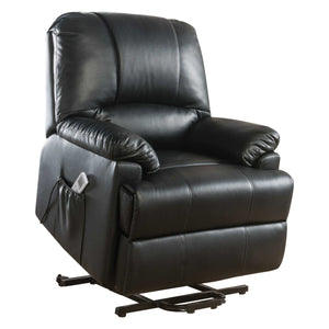 Power Lift Massage Recliner In Black Leatherette - Pu, Pine, Plywood, Foam