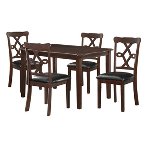5 Piece Dining Set In Black Leatherette And Espresso - Pu, Foam, Rubber Wood, Mdf, Mindy Wood Veneer, Birch Wood Veneer